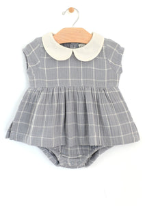 Windowpane Skirted Collar Bodysuit