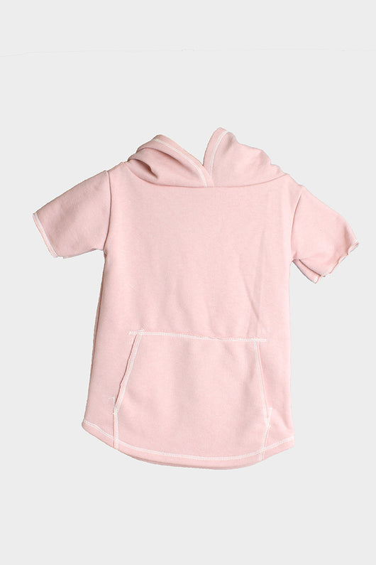 MRLY Brand short sleeve hoodie dusty pink
