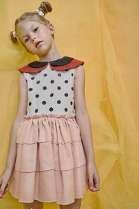 Pink Frill Dress with Peter Pan Collar