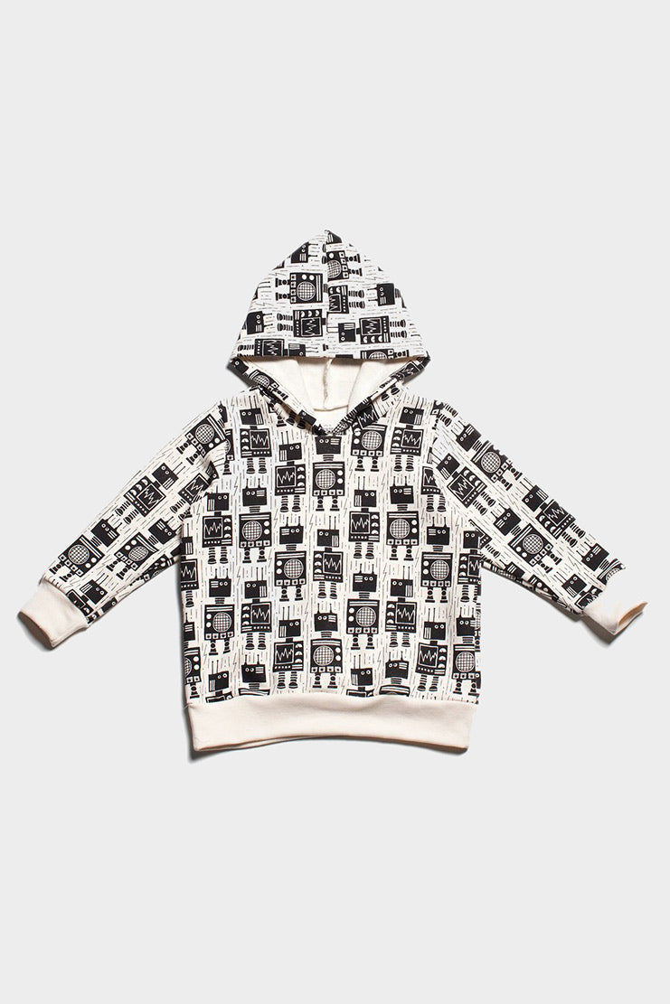 robots hoodie, organic cotton, winter water factory