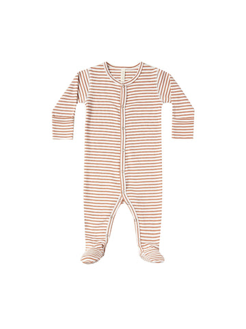 Rust Stripe Full Snap Footie