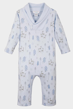 shawl neck deer romper from feather baby