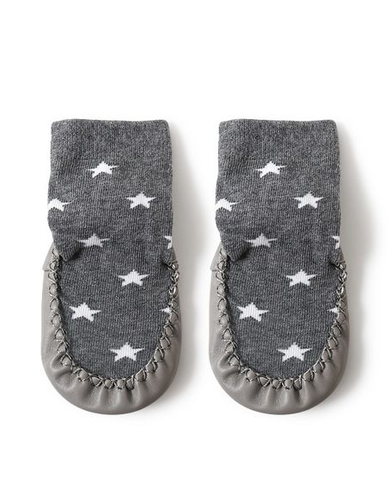 Grey Stars Grip Booties