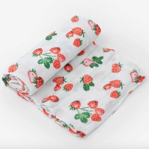 Strawberry Patch Muslin Swaddle Blanket