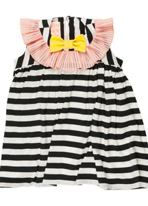 Striped Contrast Bow Dress