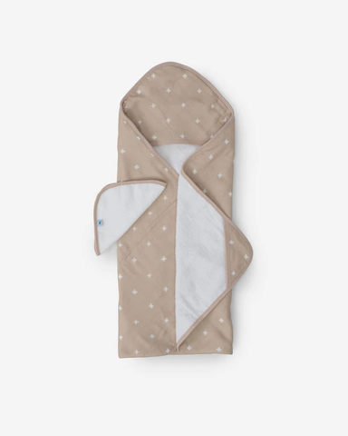 Taupe Cross Hooded Towel & Wash Cloth Set
