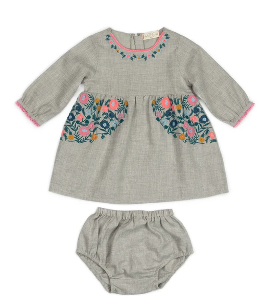 Talia Embroidered Flowers Dress Baby Set
