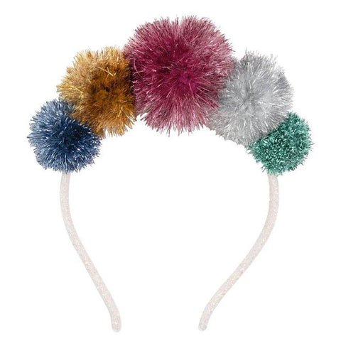 Multi Tinsel PomPom Headband