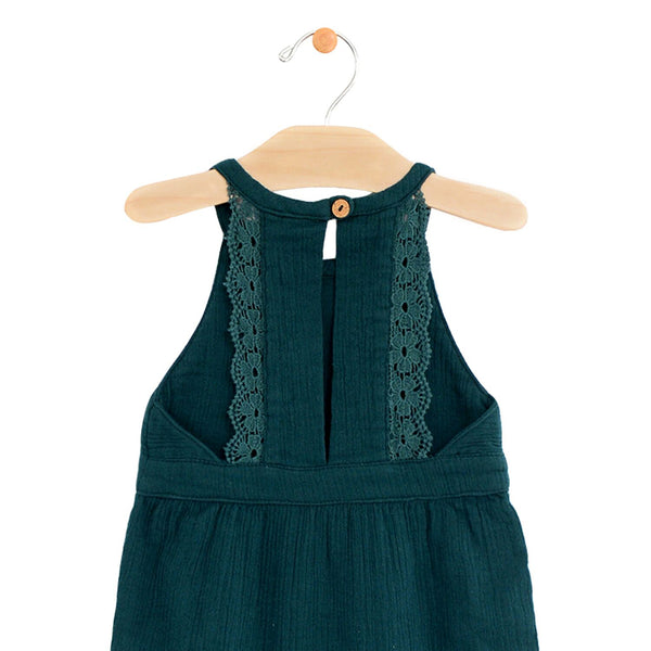 Pine Crinkle Cotton Lace Back Romper