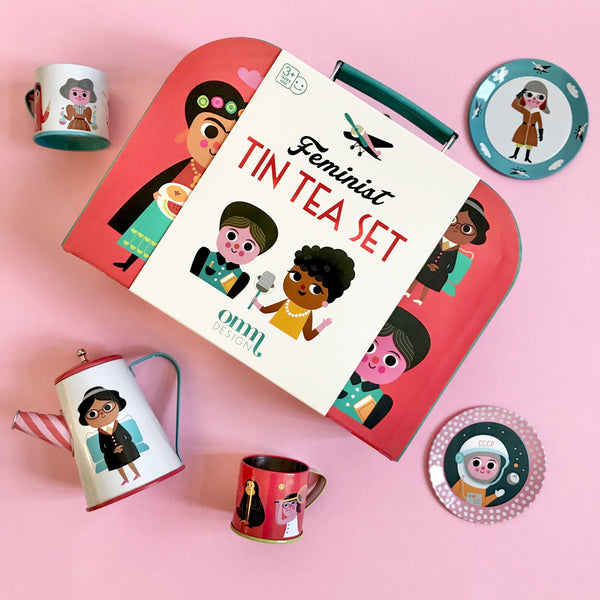 Feminist Suitcase Tin Tea Set
