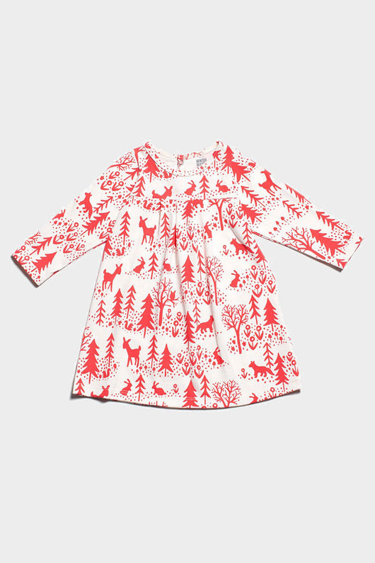winter scene Toronto baby dress, organic cotton made in the usa