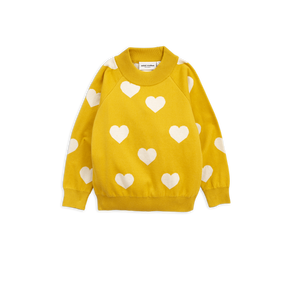 Yellow Knitted Heart Sweater 92/98 (2-3 years)