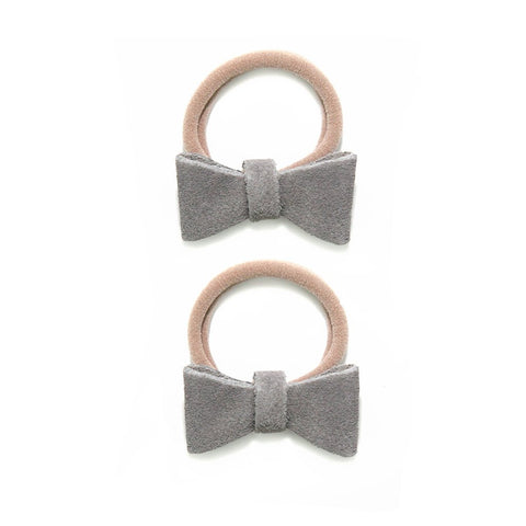 Suede Ponytail Bow Set - Light Grey