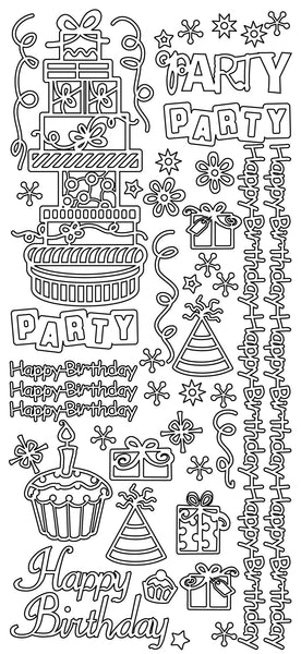 Peel Craft Stickers - Happy Birthday - Gold