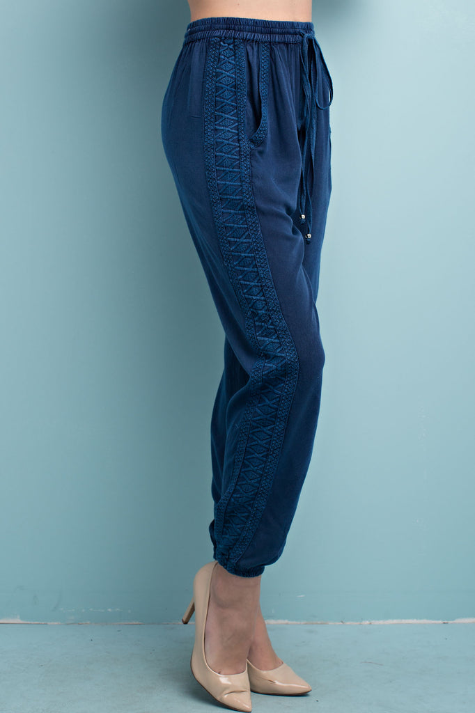 Indigo Enzyme Wash Embroidered Jogger