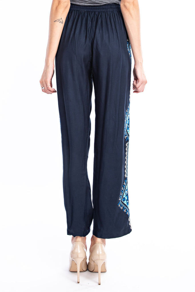 Midnight Blue Aztec Embroidered Pant - Solitaire Fashions