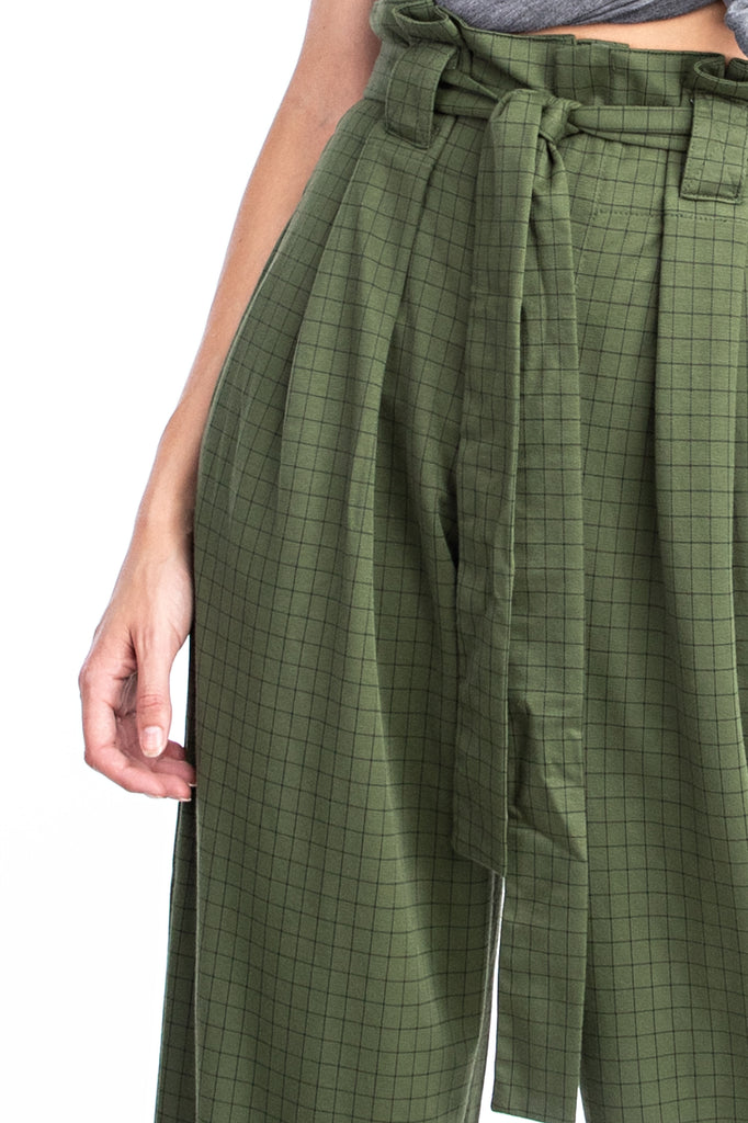 Olive Plaid Paper Bag Pant - Solitaire Fashions