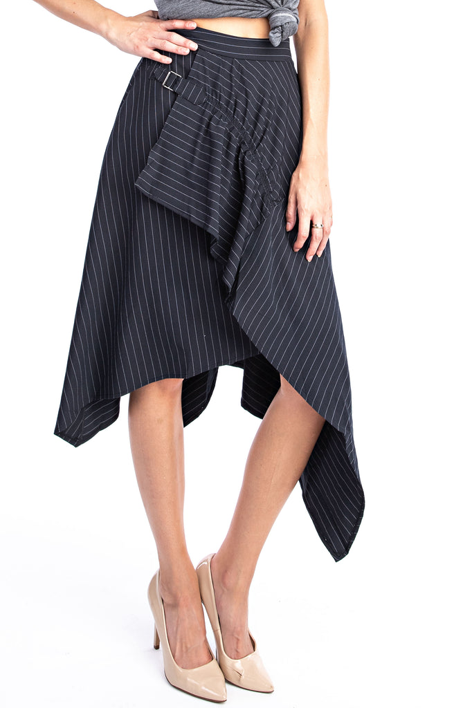 Onyx Pinstripe Hankerfief Skirt - Solitaire Fashions