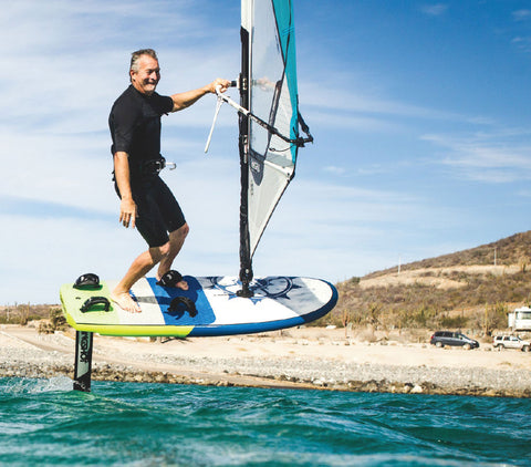 windsurfer hydrofoil placement on board