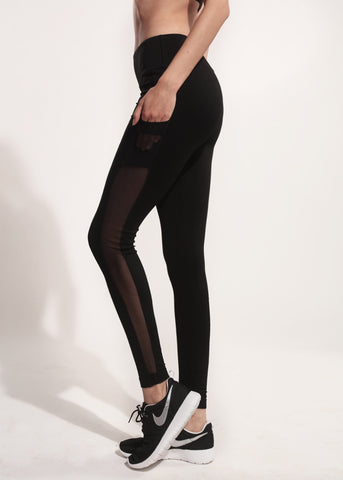 Black Mesh side pocket Legging *High waisted