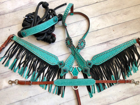 4 Piece Teal Glitter Fringe Set