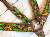 Sunflower Cactus Tooled Tack Set
