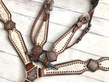 White and Copper Leather Tack Set