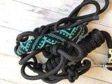 Teal and Black Beaded Pattern Knot Halter