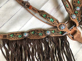 Tooled Mint Arrow Tack with Chocolate Fringe