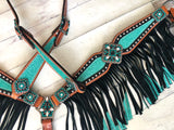 Teal Glitter Inlay with Black Fringe Tack Set