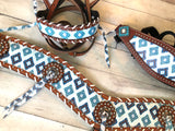 Blue Diamond Pattern Tassel Tripping Collar