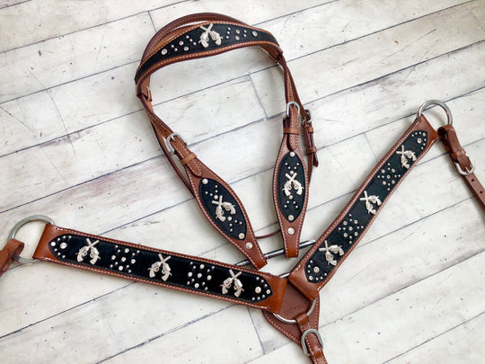 Black Hair on Hide Pistols Concho Tack Set