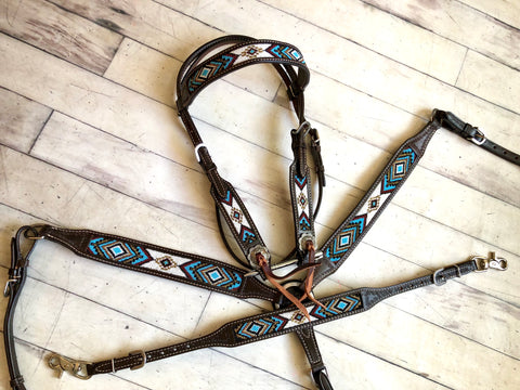 Blue and White Beaded Dark Leather Tack Set