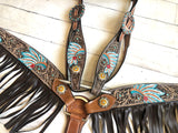War Chief Tooled Set with Dark Brown Leather Fringe