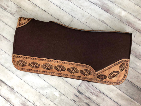 "Leather Aztec Print Brown Felt 1"" Saddle Pad"