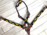 Black & Yellow Beaded Wrapped Sunflower Tack Set