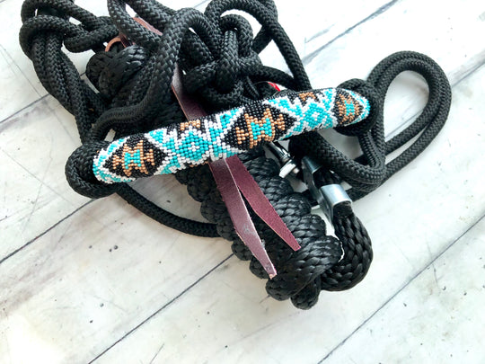 Teal Gold and Black Knot Halter