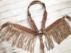 Tooled Leather with Light Suede Fringe