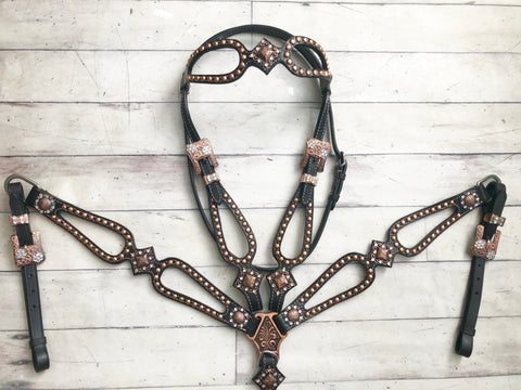 Copper Stud and Concho Leather Cut Out Set