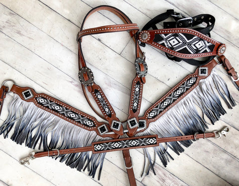 4 Piece Black and White Ombre Fringe Tack Set