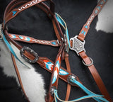 Teal and Orange Feather Painted Tack Set