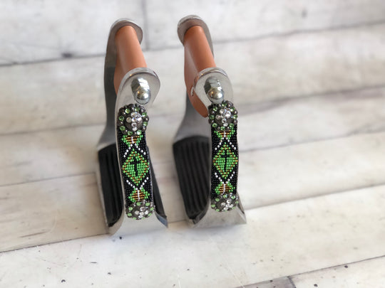 Green (Lime) Beaded Cross Stirrups with Grips