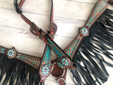 Teal Copper Fringe Pony Tack Set