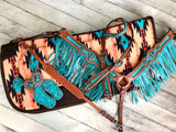 Peach with Orange and Turquoise Diamond Build Up - Felt Bottom Saddle Pad