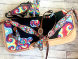 Tie Dye Crystal Concho Saddle Pad Full Set
