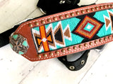 Orange & Teal Diamond Beaded Bronc Halter