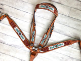 White, Teal, Burgundy and Brown Beaded Tack Set