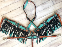 Teal Glitter Inlay with Black Fringe 3 Piece Tack Set