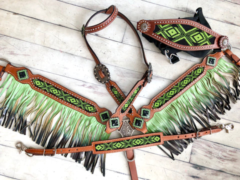 4 Piece Green and Black Beaded Ombre Fringe Tack Set