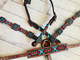 Red & Teal Diamond Pattern Wither Strap